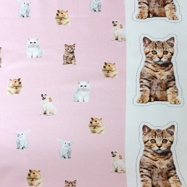 Poppy jersey fabric Little Pets - pink x 17cm