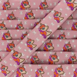 Woven Ribbon Stars and unicorns - pink x 1m