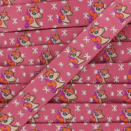 Woven Ribbon Stars and unicorns - fuchsia x 1m