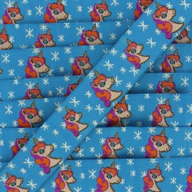 Woven Ribbon Stars and unicorns - blue x 1m
