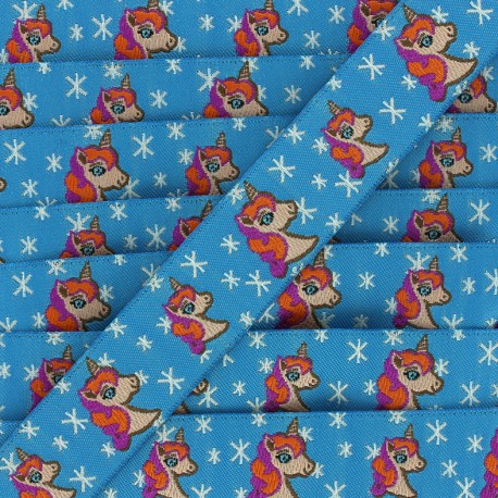 Ruban tissé Stars and unicorns - bleu x 1m