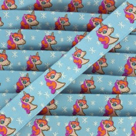 Woven Ribbon Stars and unicorns - sky blue x 1m