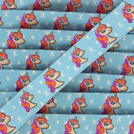 Woven Ribbon Stars and unicorns - sky blue x 1m