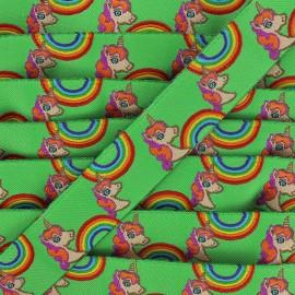 Woven Ribbon Rainbow and unicorns - green x 1m