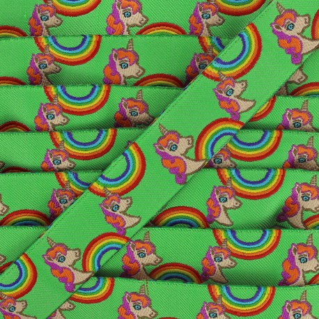 Ruban tissé Rainbow and unicorns - vert x 1m