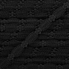 Ruban guipure Petite amande 15 mm - noir x 1m