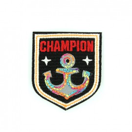 Reflective embroidered iron on patch - champion