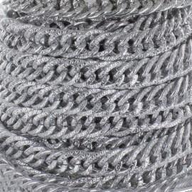 Chaîne maille moirée aluminium 15mm - argenté x 50cm