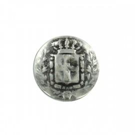 Bouton métal Royaume - vieil argent