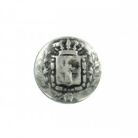Metal button Royaume - old silver