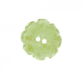Ceramic button Lotus - light green