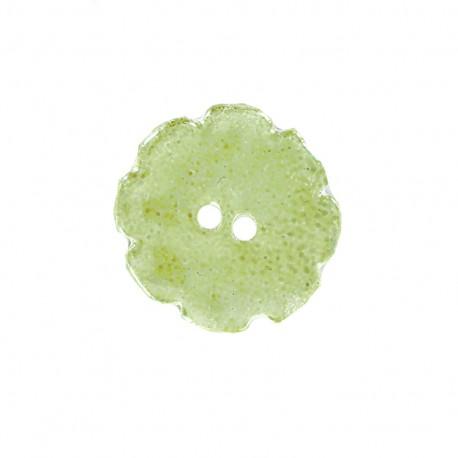 Ceramic button Lotus - light green
