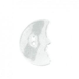 Bouton céramique irisé Lune - blanc