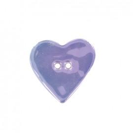 Bouton céramique irisé Coeur - parme