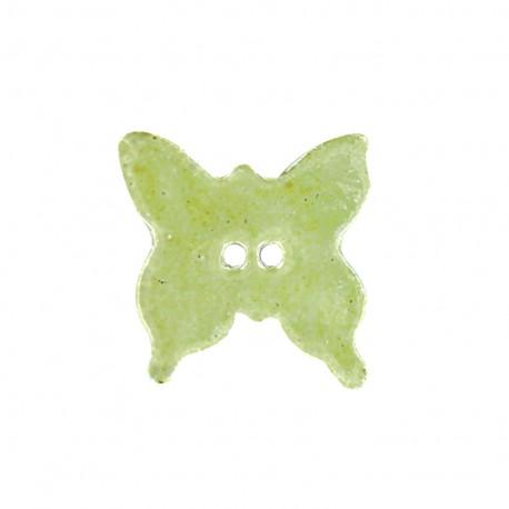 Ceramic button Butterfly - light green