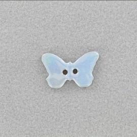Bouton céramique irisé Papillon - bleu ciel