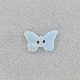 Ceramic button Papillon - light blue