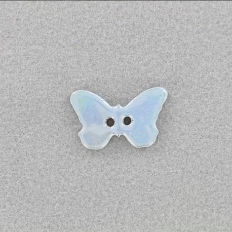 Ceramic button Papillon - light blue