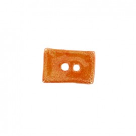 Bouton céramique irisé Petit rectangle - orange