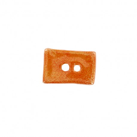 Ceramic button Petit rectangle - orange