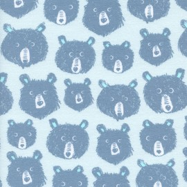 Cotton fabric Cotton Steel Black and White -  Blue Bears x 10cm