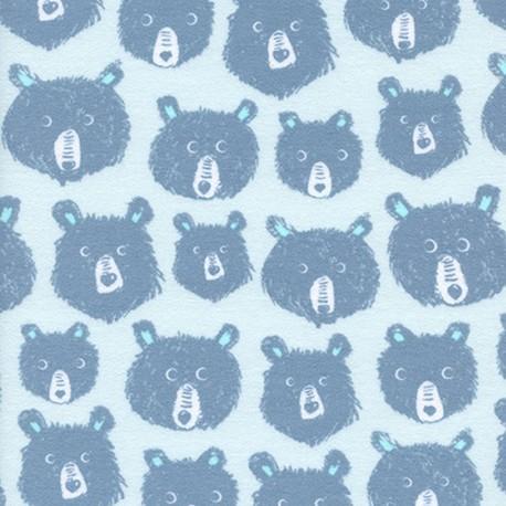 Tissu coton Cotton Steel Black and White -  Ours Bleu  x 10cm