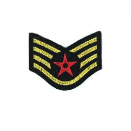 Embroidered iron on patch Red star - black