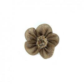 Fleur mousseline avec perles à coudre - marron