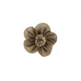 Muslin flower with beads to sew on - brown