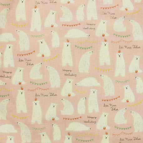 Kokka fabric Trefle Kids Polar Bear - Pink x 15cm