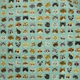 Tissu coton Kokka Anika ! World Cat Bleu x 15cm