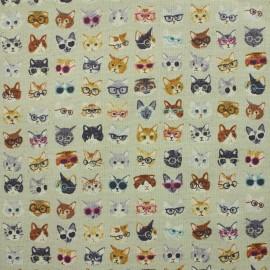Kokka fabric Anika ! World Cat linen x 15cm