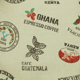 Tissu coton Kokka Coffee Bag - Lin x 35 cm