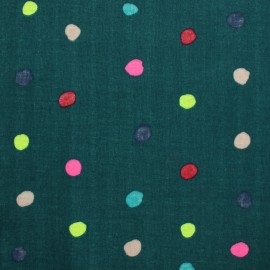 Tissu double gaze de coton Kokka Colorful Pocho - Bleu paon x 10 cm