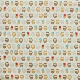 Tissu double gaze de coton Kokka Trefle Kids Owl - Blanc x 10 cm
