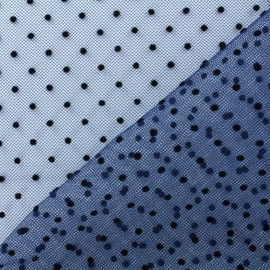 Plumetis Tulle black dots fabric - blue navy x 10cm