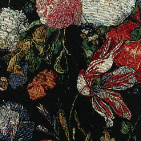 Tissu jacquard Peony small - noir x 35cm