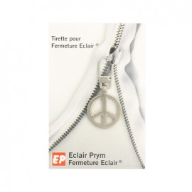 Eclair Prym Peace and Love Zipper pull - silver