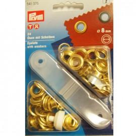 Oeillets avec rondelles 8mm doré + outil