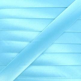 Satin bias binding, 20 mm - frozed blue x 1m
