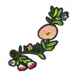 Motif brodé à coudre Fleur Carmen - noir