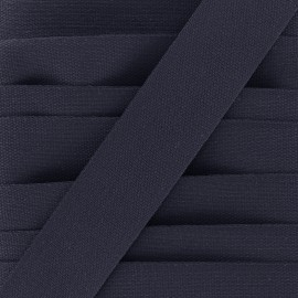 Woven cotton braided ribbon - navy x 1m