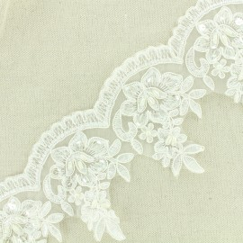Broderie perles Deluxe - écru x 50cm