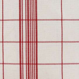 Tissu toile rondelette carreaux - rouge x 10cm