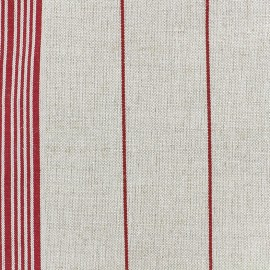 Tissu toile rondelette rayures - rouge x 10cm