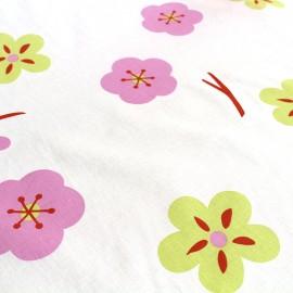 Tissu coton imprimé grande largeur (280 cm) Fleurs - blanc x 50cm
