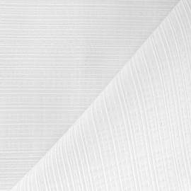 Tissu coton brodé Line - blanc x 10cm