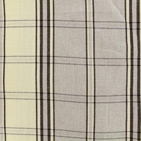 Tissu toile rondelette carreaux - gris x 10cm