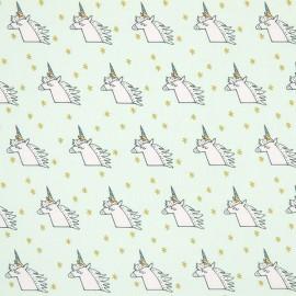 Tissu coton Rico design Licorne - menthe/or x 10cm