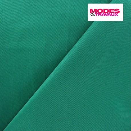 Tissu Gabardine Lycra satiné vert bleu x 10cm